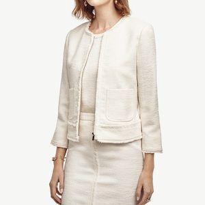 Ann Taylor White Fringed Tweed Jacket Size 10 NWT